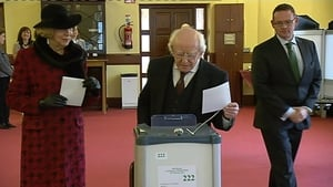 President Michael D Higgins and his wife Sabina cast their votes at St Mary's Hospital in Phoenix Park, Dublin