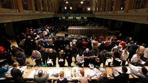 Ballot papers are verified as the  count gets under way at the City Hall in Cork