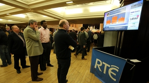 Party activists at the City Hall in Cork watch RTÉ's News Now showing early result indications