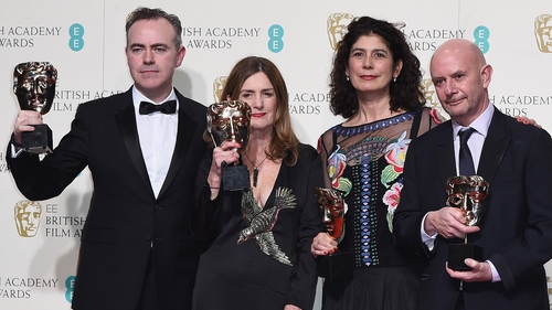 Brooklyn Director John Crowley, producers Finola Dwyer and Amanda Posey with screen-writer Nick Hornby at the EE British Academy Film Awards on February 14.