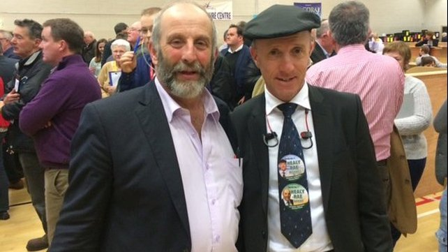 Danny and Michael Healy Rae at the count centre in Kerry - Michael was elected in the first count