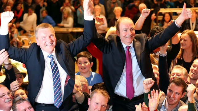 Michael McGrath and Micheál Martin celebrating their wins in Cork at the weekend