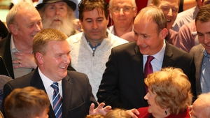 Michael McGrath (L) and party leader Micheál Martin are in jubilant form after their win