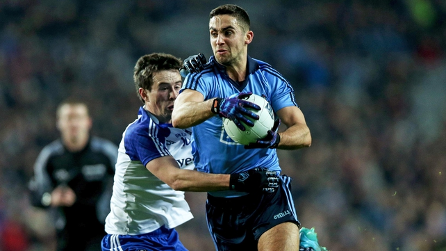 Dublin's James McCarthy gets away from the challenge of Monaghan's Shane Carey