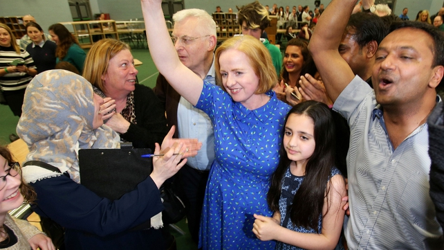 The Anti-Austerity Alliance's Ruth Coppinger celebrates being elected in Dublin West