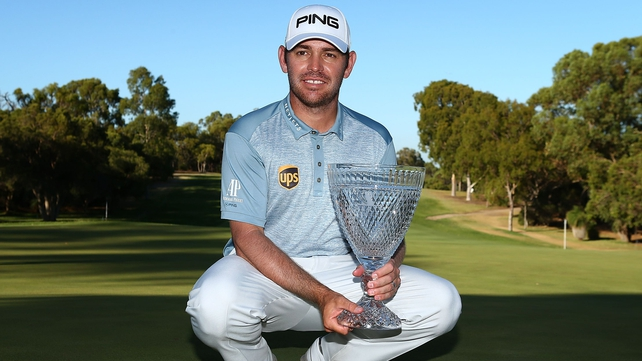 Louis Oosthuizen poses with the trophy after winning the 2016 Perth International at Karrinyup GC