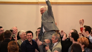 Fianna Fáil candidate Declan Breathnach is lifted in celebration after being declared at the Louth constituency count in Dundalk