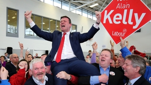 Alan Kelly is hoisted into the air as he celebrates being elected to the constituency of Tipperary