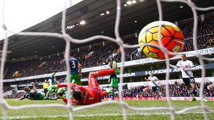 Danny Rose of Tottenham Hotspur (blocked) scores past Lukasz Fabianski