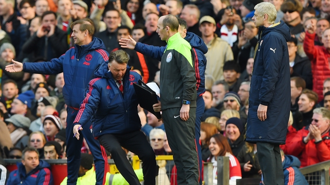 Louis van Gaal threw himself to the ground in frustration at what he saw as Arsenal diving