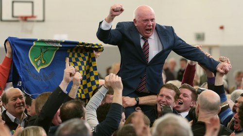 Fianna Fáil's Jackie Cahill is hoisted into the air as he celebrates being elected in Tipperary