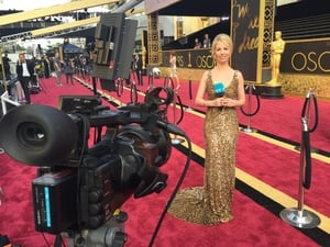 RTÉ's Caitríona Perry on the red carpet outside the Dolby Theatre on Hollywood Blvd