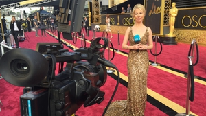 Caitríona Perry on the red carpet outside the Dolby Theatre on Hollywood Blvd