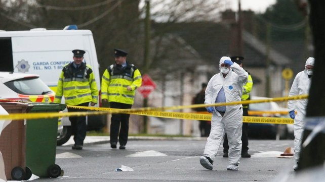 Gardaí at the scene on McKee Road in Finglas