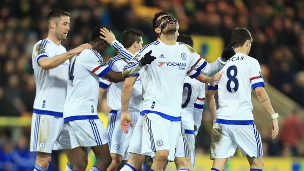 Diego Costa celebrates his goal at Carrow Road