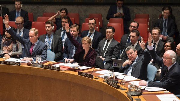 Members of the UN Security Council vote on sanctions against North Korea