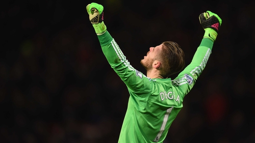 David de Gea celebrates during Manchester United's win over Watford