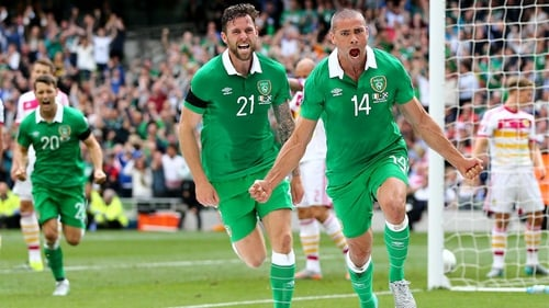 Jonathan Walters celebrates scoring the opening goal against Scotland