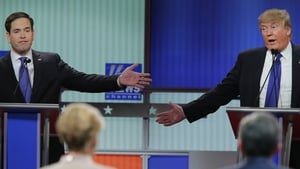 Marco Rubio and Donald Trump participate in a debate sponsored by Fox News