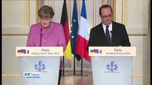 Merkel, Hollande meeting over EU summit on migrant and refugee crisis