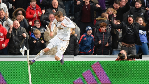 Gylfi Sigurdsson shows his delight after netting the winning goal