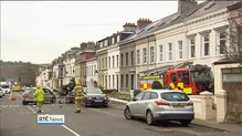 A stolen fire engine crashed into cars and homes in Larne early today