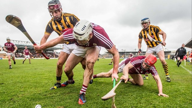 Kilkenny's Kevin Kelly and TJ Reid with Gearoid McInerney and Fergal Moore of Galway