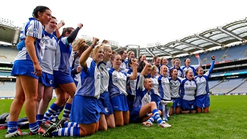 The victorious Milford side celebrate on the Croke Park turf
