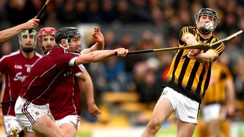 Galway's Aidan Harte and James Maher of Kilkenny battle for possession at Nowlan Park