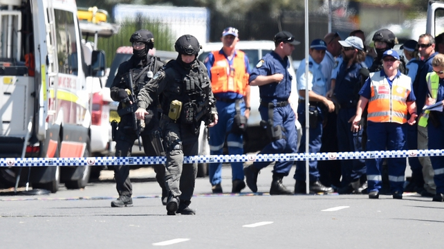 Tactical police at the scene of  shooting at Ingleburn in Sydney