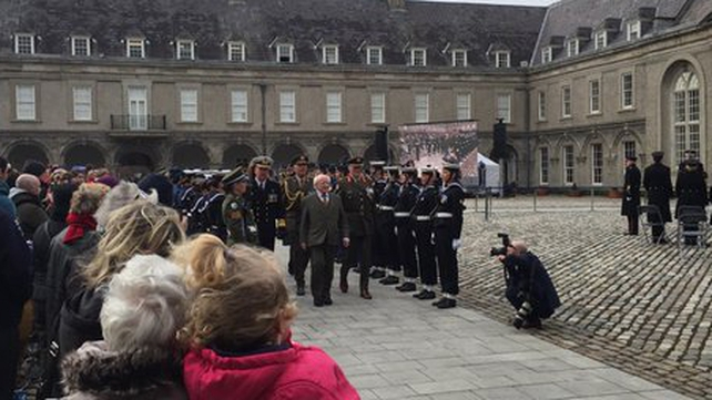 President Michael D Higgins was met by an all-female Captain's Honour Guard