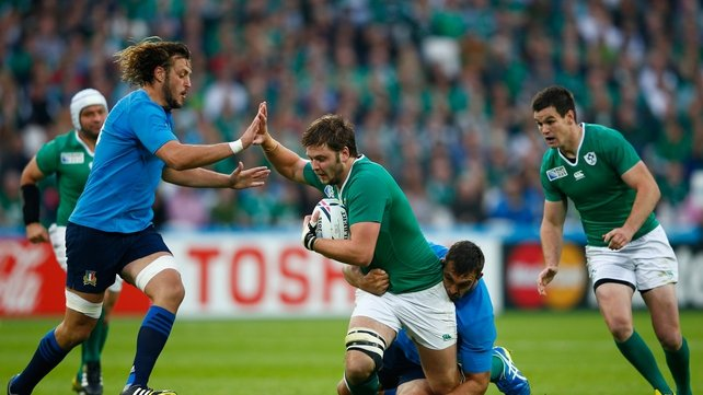 Quintin Geldenhuys in action for Italy against Ireland at last year's World Cup