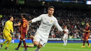 James Rodriguez wheels away after scoring Real's second goal