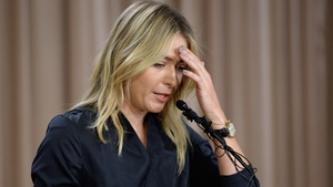 Sharapova at the media conference when she broke the news of her failed dope test
