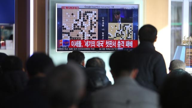 Spectators watch Lee Sedol take on AlphaGo