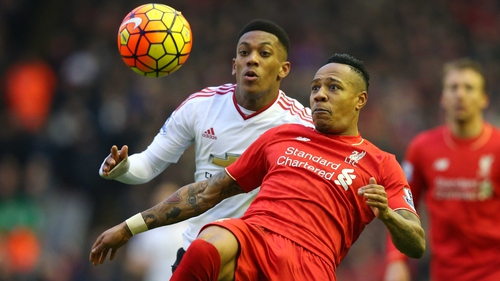 Nathaniel Clyne clears the ball against Manchester at Anfield in January