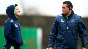 John Cooney and coach Pat Lam at The Sportsground