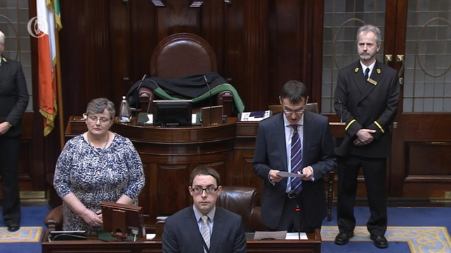 Clerk of the Dáil Peter Finnegan names each of the TDs elected