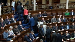 Seán Ó Fearghaíl earlier won the vote for ceann comhairle