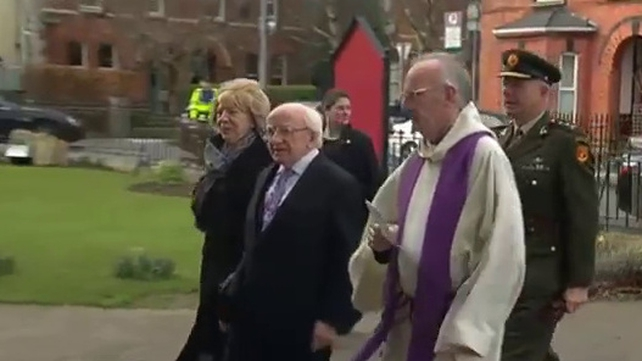 President Michael D Higgins and his wife Sabina were among the mourners
