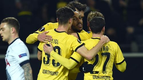 Dortmund striker Pierre-Emerick Aubameyang (centre) and his teammates celebrate