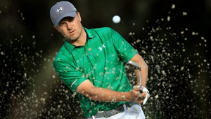 Jordan Spieth hits out of a bunker on the tenth hole during the first round of the Valspar Championship