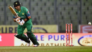 Pakistan cricketer Umar Akmal plays a shot during a recent T20 match against Sri Lanka