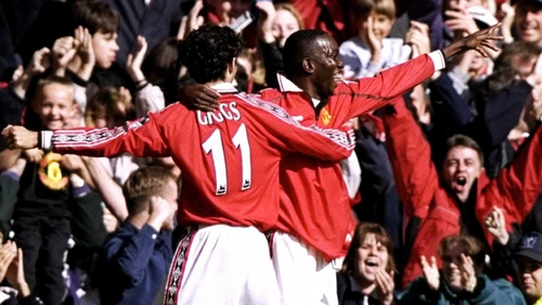Dwight Yorke and Ryan Giggs during their playing days together