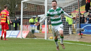 Callum McGregor celebrates his goal