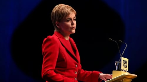 First Minister Nicola Sturgeon speaking at the SNP spring conference in Glasgow today