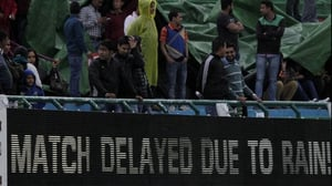 The match was reduced to six overs apiece due to rain