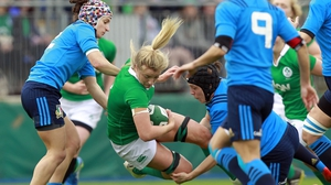 Ireland's Ciara Cooney is tackled.