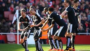 Watford players celebrate Adlene Guedioura's goal