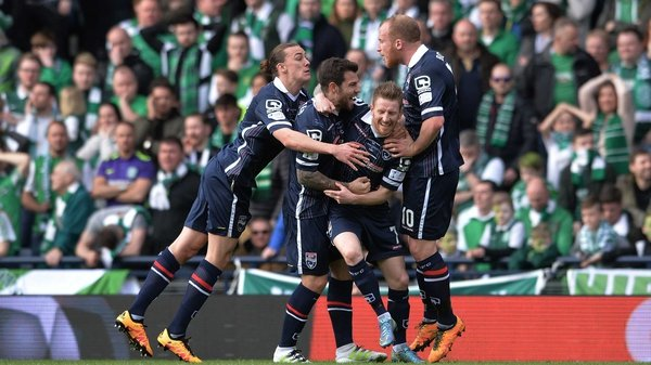 County players celebrate Michael Gardyne's goal